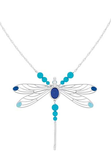 Lalique Crystal Libellule Collier, Blue