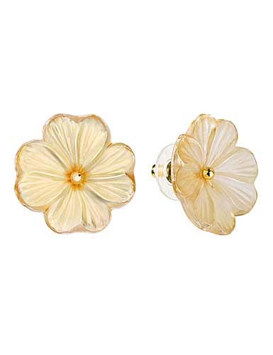 Lalique Pensee Lustre Earrings, Gold Vermeil