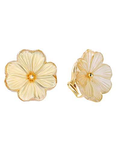 Lalique Pensee Lustre Clip Earrings, Gold Vermeil
