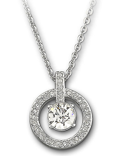 Swarovski Rhodium and Crystal Lavender Circle Pendant Necklace