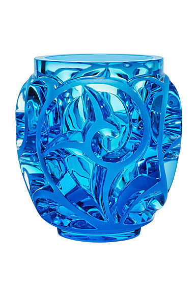 "Lalique Crystal, Tourbillons 8 1/8"" Pale Blue Crystal Vase, Limited Edition"