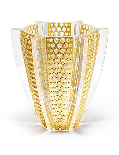 Lalique Crystal, Provence Rayons, Limited Edition Crystal Vase With Gold Leaf