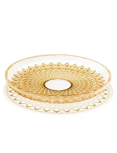 Lalique Crystal, Provence Rayons Crystal Bowl, Gold Lustre