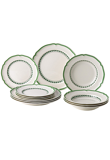 Villeroy and Boch French Garden Green Line 12 Piece Set of 4