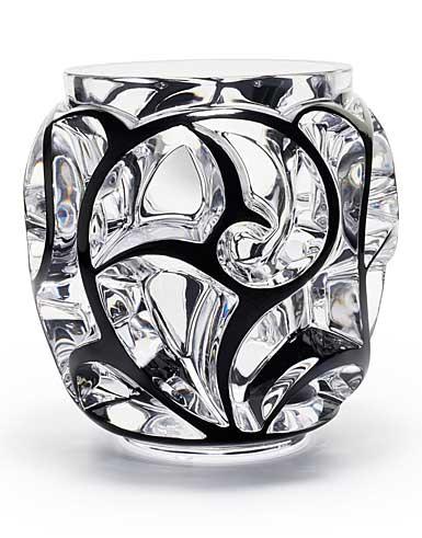 """Lalique Tourbillons XXL 10.5"""" Vase, Black"""