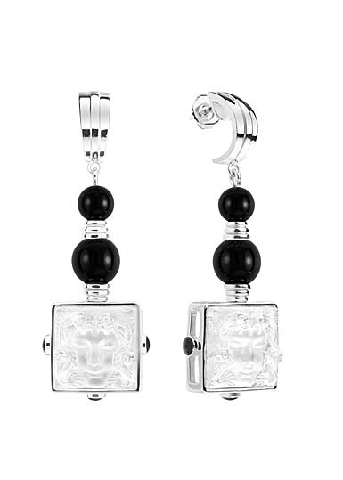 Lalique Crystal Arethuse Earrings, Black