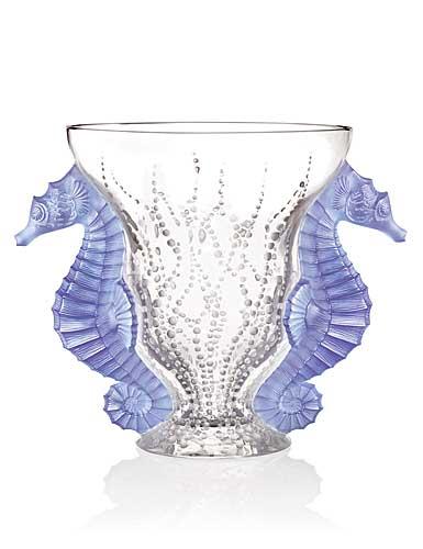 Lalique Crystal, Limited Edition Poseidon Blue Lavender Crystal Vase