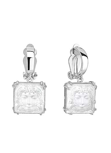 Lalique Crystal Arethuse Clip Earrings, Clear