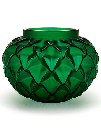 Lalique Crystal, Languedoc XXL Crystal Vase, Green Numbered Edition