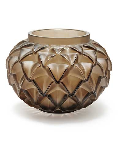 """Lalique Crystal, Languedoc 8 7/16"""" Crystal Vase, Bronze"""