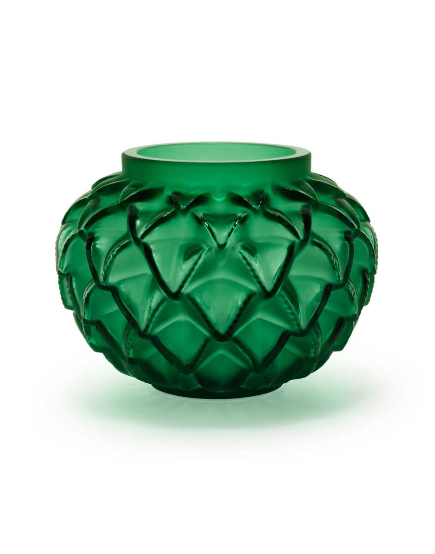 Lalique crystal languedoc small crystal vase green for Lalique vase