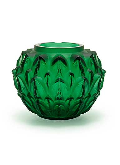 Lalique Crystal, Cynara Crystal Vase, Green