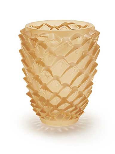 Lalique Agave Vase, Gold Luster