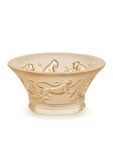 Lalique Monkey Votive, Gold Luster