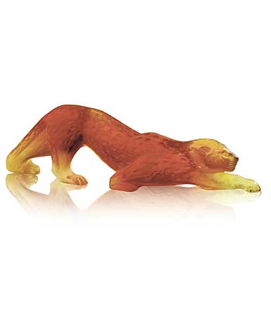 Lalique Crystal, Zeila Amber Panther Sculpture, Small