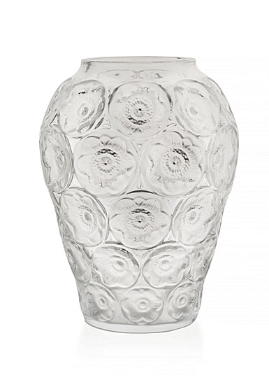 """Lalique Anemones 13"""" Vase, Clear"""