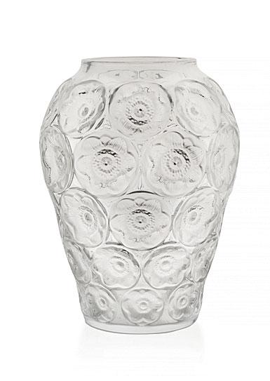 Lalique Crystal, Anemones Crystal Vase, Clear