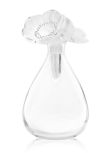Lalique Two Anemones Decanter, Clear and Black Enamelled
