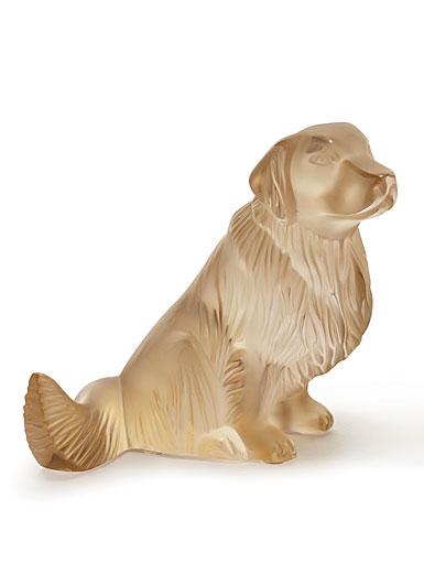 Lalique Crystal, Golden Retriever Sculpture, Gold Luster
