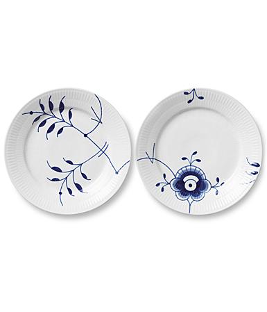 Royal Copenhagen Blue Fluted Mega Dessert Plates Pair Decor