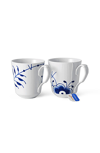 Royal Copenhagen Blue Fluted Mega Mug Pair Anniversary Decor