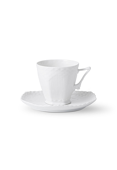 Royal Copenhagen White Fluted Full Lace Coffee Cup and Saucer