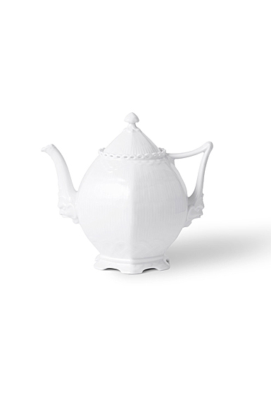 Royal Copenhagen White Fluted Full Lace Tea Pot 1 Qt