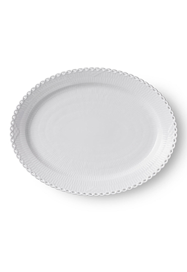 "Royal Copenhagen White Fluted Full Lace Oval Platter Large 14.25"""