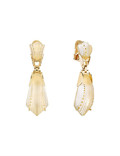 Lalique Icone Clip Earrings, Vermeil