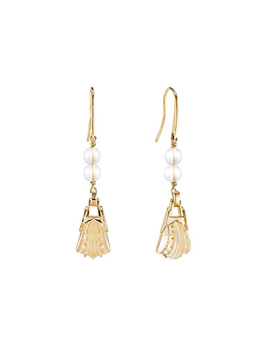 Lalique Icone Pierced Earrings, Vermeil and Clear