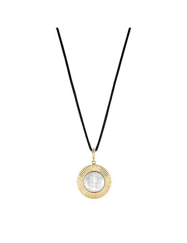 Lalique Crystal Le Baiser Pendant Necklace, Gold Vermeil