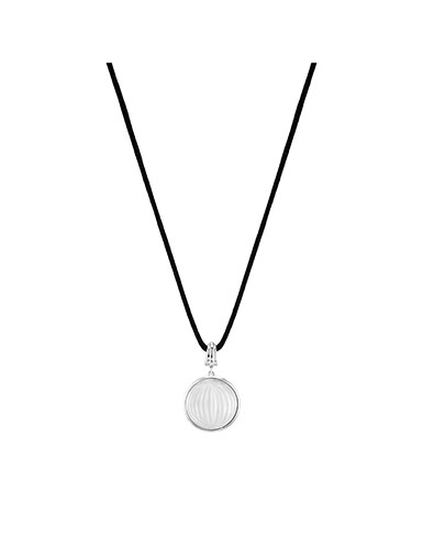 Lalique Crystal Vibrante Round Pendant Necklace, Silver