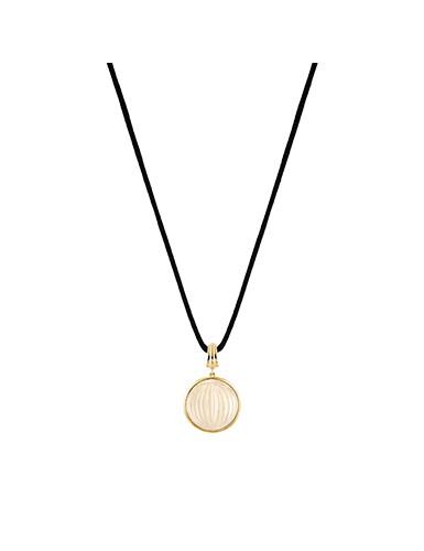 Lalique Vibrante Round Pendant Necklace, Gold Vermeil