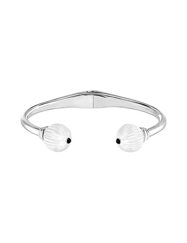 Lalique Crystal and Sterling Silver Vibrante Bangle Bracelet, Silver