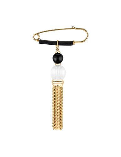 Lalique Crystal Vibrante Tassel Brooch, Gold Vermeil