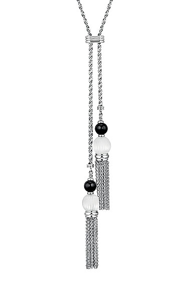 Lalique Crystal Vibrante Tassel Necklace, SIlver