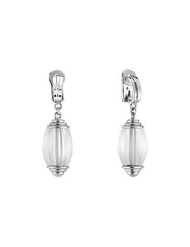 Lalique Vibrante Oval Clip Earrings, Silver