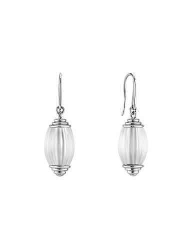 Lalique Vibrante Oval Pin Clasp Earrings, Silver