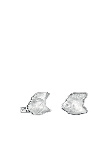 Lalique Sterling Silver Poisson Fish Cufflinks