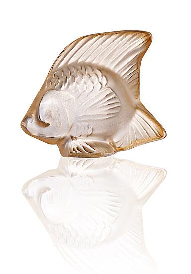 Lalique Fish Sculpture, Gold Luster
