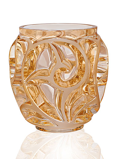 Lalique Crystal, Tourbillons Small Crystal Vase, Gold Luster