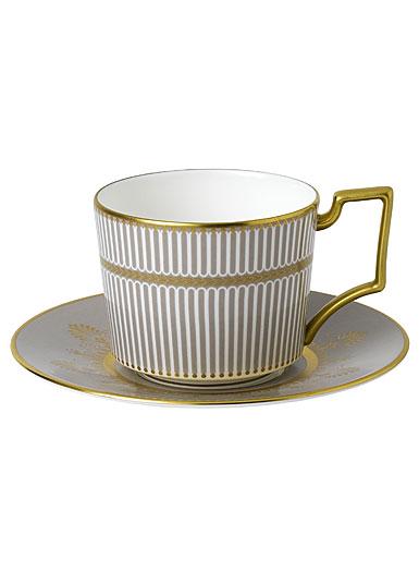 Wedgwood Anthemion Grey Teacup and Saucer Set