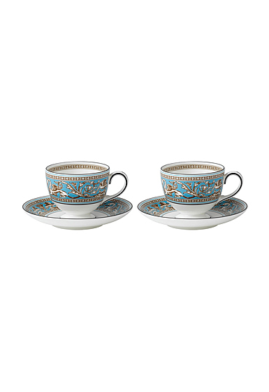 Wedgwood Florentine Turquoise Teacups and Saucers Pair