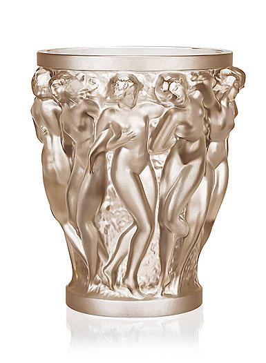 Lalique Crystal, Bacchantes Large Crystal Vase, Gold Luster