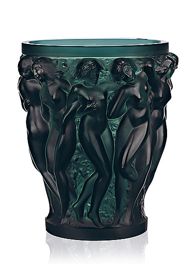 Lalique Crystal, Bacchantes Large Crystal Vase, Intense Green