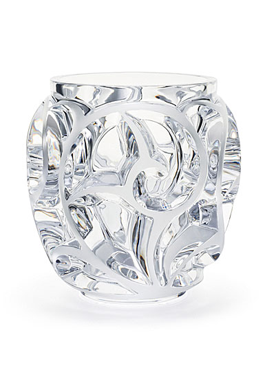 Lalique Crystal, Tourbillons Small Crystal Vase, Clear