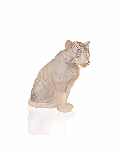 Lalique Crystal, Sitting Tiger Sculpture, Large, Gold Luster
