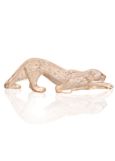Lalique Crystal, Zeila Panther Sculpture, Gold Luster