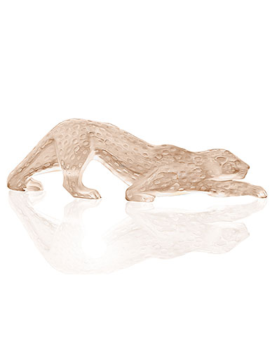 Lalique Crystal, Zeila Panther Sculpture, Large, Gold Luster