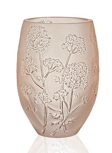 Lalique Crystal, Ombelles Crystal Vase, Gold Luster, Medium